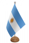 Argentina Desk / Table Flag with wooden stand and base